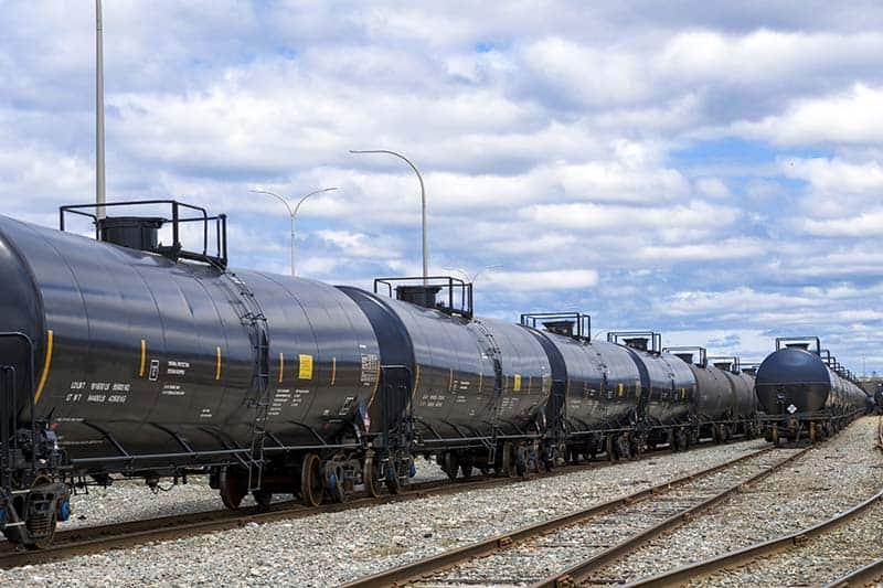 Rail cars sitting on a track