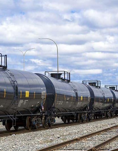 Black tanker rail cars