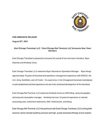 East Chicago Rail Terminal Press Release 9-30-2021